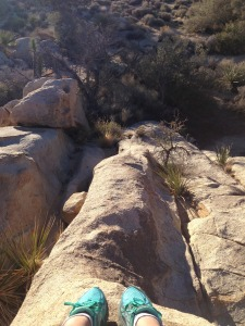 Climbing the boulders in Hidden Valley