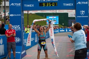 Jennie Winning Ironman Lake Placid in 2013