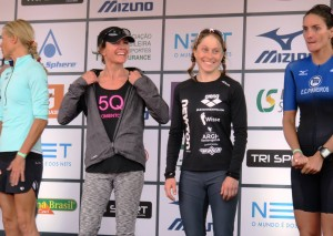 Ruth Brennan Morrey rocking the Smashfest Queen 5Q Tank on the Brazil 70.3 Podium