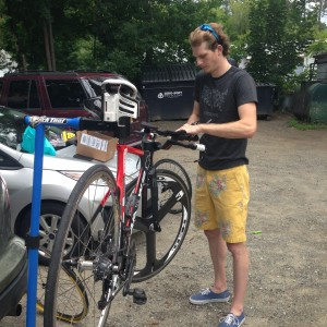 Murnane working on our bikes.